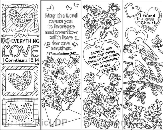 8 Printable Coloring Bookmarks With Love Bible Verses Love