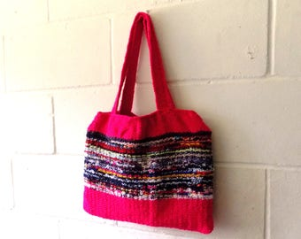 Hand Knitted Tote Bag, One of a Kind Bright Pink and Multi Coloured Bright Handbag.