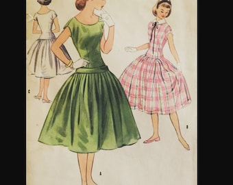 Vintage 50s Drop Waist Full Skirt Cap Sleeve Day Dress EASY Sewing Pattern 3151 B30