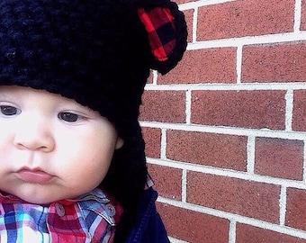 Bear hat with plaid ears