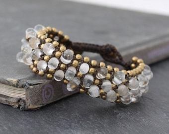 Clear Glass Beads Chunky Band Bracelets