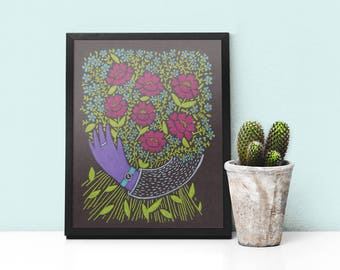 Art Print I Picked You These Flowers