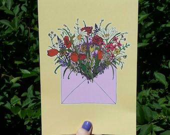 Wild Flower Envelope A5 print