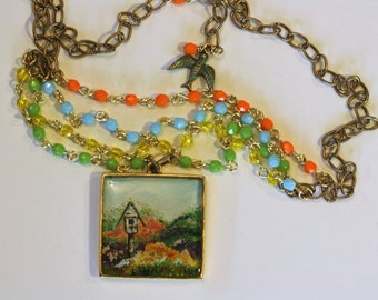 Hand-Painted Birdhouse and Flower Garden Tiered Antique Gold Pendant Necklace/ Four Tier Necklace/ Multi-tiered Pendant/ Statement Pendant