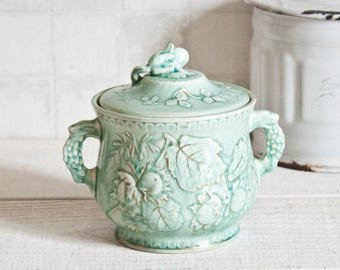 Amazing Vintage French Longchamp sea green and gold porcelain sugar bowl - Floral decor Shabby chic