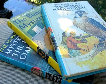 Vintage children's books,Two Hardy Boys and one Nancy Drew Mystery, set of 3 hardcover, color cover books, instant collection