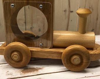 Wooden Train Piggy Bank