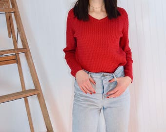 Vintage Red Cotton Sweater