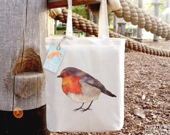 Robin Tote Bag, Ethically Produced Reusable Shopper Bag, Cotton Tote, Shopping Bag, Eco Tote Bag, Stocking Filler, Robin Gift