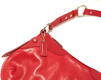Danier Leather Handbag - Danier Purse - Vintage Shoulder Bag - Red Leather Top Handle Bag