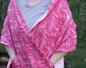 Shawl/Wrap  pink  oil swirl print (#603) Free shipping