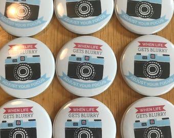 Adjust Your Focus Camera Pinback Button, Nikon Pin, Photographer Button, Camera Keychain, Photographer Pins, Backpack Pins, World Travel