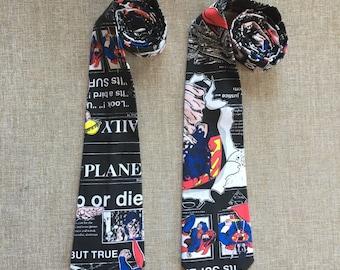 DC Comic Neck Tie  / Superman Tie, Men's Neck Tie, Boy's Neck Tie, Tie Up Tie or Clip on Tie