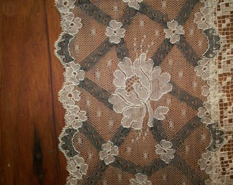 Fine two tone lace scarf or runner silk lace and super fine linen or cotton