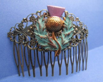 Scottish thistle hair comb Wedding hair clips decorative hair combs Scottish hair jewelry