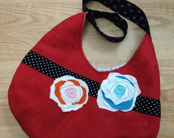 Appliqued cotton fabric rose on red bag, red hobo bag, red bag, rose bag, crossbody bag,red bag with magnetic closure,bag with a wider strap