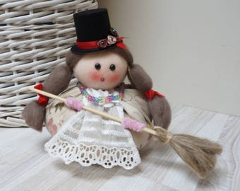 Good luck kitchen witch rag doll in top hat handmade decor Halloween hand sculptured sewn raggedy girl with braided hair and broom