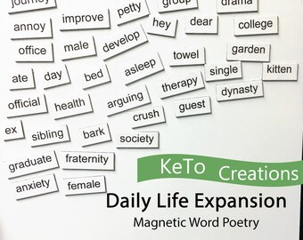 Daily Life Word Magnet Poetry Expansion Set - Word Poems - Fridge Magnets - White Board Word Magnets