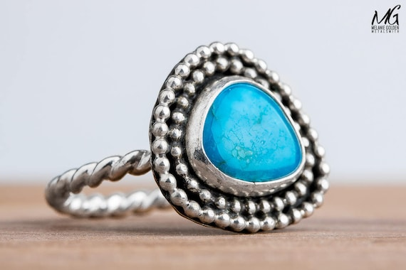 Sleeping Beauty Turquoise Ring in Sterling Silver with Beaded Border - Size 8