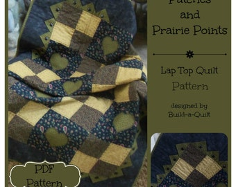 PDF Pattern:  Patches & Prairie Points Lap Quilt