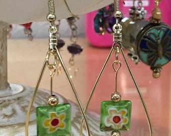 Cute summertime flowers suspended in Gold teardrop hoops Boho Chic mixed metals handmade earrings