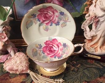 Paragon Large Rose tea cup and saucer.