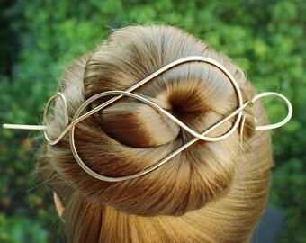 Gold Hair Barrette Hair Stick, Long Hair Clip Metal Hair Pin, Large Hair Clip Wedding Hair Slide Organic Hair Jewelry Women Gift for Mom