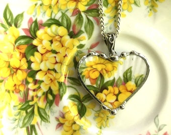Broken china jewelry - heart pendant necklace - vintage porcelain, yellow laburnum Royal Albert, blossom time, Dishfunctional Designs