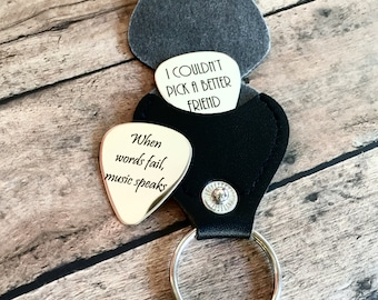 Custom Engraved Guitar Pick, Personalized Guitar Pick, Custom Guitar Pick, Music Gift with Keychain Holder