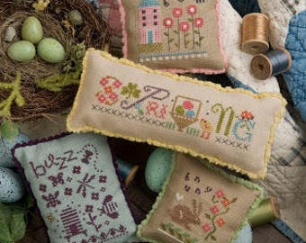 NEW and Ready to Ship! LIZZIE*KATE Spring Smalls counted cross stitch patterns at thecottageneedle.com