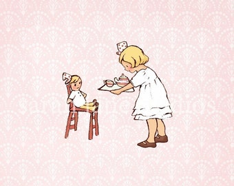 Children's Wall Art Print - Ella's Tea Party - Girl Kids Nursery Room Decor