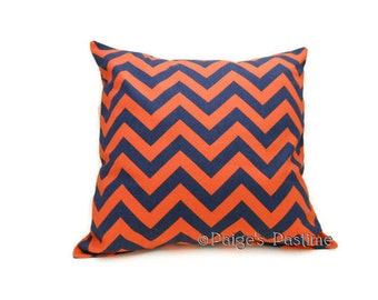 Decorative Pillow - Blue and Orange Pillow - Chevron Pillow - Throw Pillow - Auburn Pillow