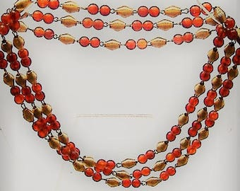1950S   necklace PERSPEX faux amber and GOLD coloured beads