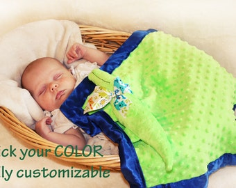 Minky Alligator Security Blanket baby blanket Lovey Blanket, Satin, Baby Blanket, Stuffed Animal, Baby Toy - Customize Color - Monogramming