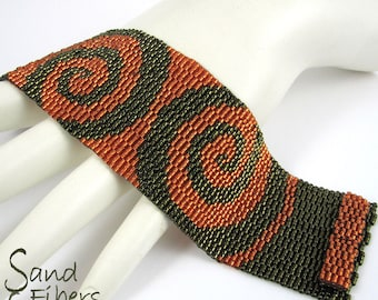 Mirrored Orange Swirls on Olive Peyote Cuff / Peyote Bracelet (3002) - A Sand Fibers Made-to-Order  Creation