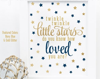 Twinkle Little Stars Do You Know How Loved You Are, Printable Twin Boys Nursery Wall Art Birthday Baby Shower Sign Navy Blue Gold Glitter
