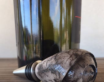 Horse Hair Raku Wine Bottle Stopper