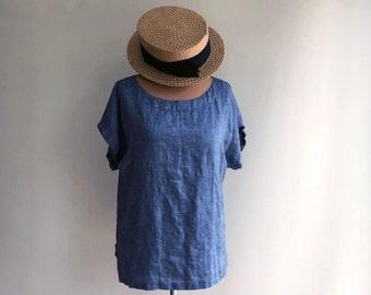 Linen T Shirt, Light Linen Top, Linen Shirt Women, Shirt with Short Sleeves, Linen Tee, Plus size shirt, Loose Linen Shirt, Plus size top
