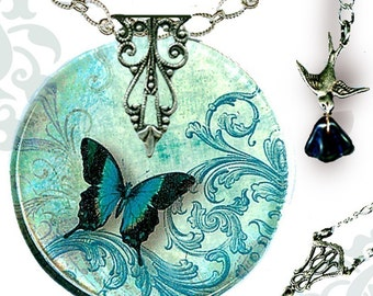 Teal Butterfly Necklace - Reversible Glass Art - Voyageur - The Alhambra Collection - Teal Flight  of the Butterfly
