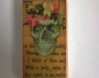 Skull with roses keychain, altered art, domino, bag charm