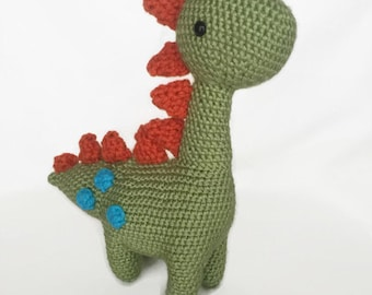 Dinosaur Stuffed Animal / Dinosaur Baby Gift / Dinosaur Baby Shower / Dinosaur Baby Nursery / Crochet Dinosaur / Green Dinosaur
