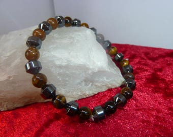 Genuine HEMATITE and Tiger eye bracelet