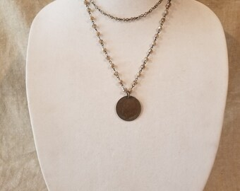 Coin necklace, coin, british coin, double strand, rosary chain, bead necklace
