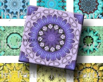 Chakra Mandalas 1x1 Square ,Printable Digital Image,Digital Collage,Healing Mandalas,Magnets,Gift Tags,Scrabble Tiles,Yoga, Meditation