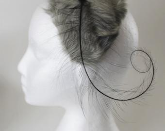 Vintage Capulet with Feather, Gray Fur Formal Hat