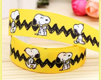 Snoopy Ribbon, Grosgrain Ribbon, Cute Ribbon, Cartoon Ribbon, Hairbows, Scrapbooking Embellishment,Peanuts, Charlie Brown