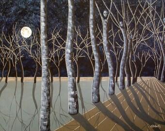 Original Navy Blue Art, Moon Art, Moon Painting, Fantasy Art, Home Decor, Original Art, Art, Navy Blue, Moon, Full Moon, Fantasy