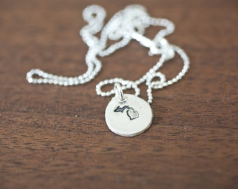 Tiny Michigan Necklace Silver Michigan Necklace State Charm State Necklace MI Small State Charm Michigan Charm Michigan Necklace