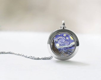 Stainless steel locket Starry Night pendant necklace Wearable art picture pendant Vincent Van Gogh