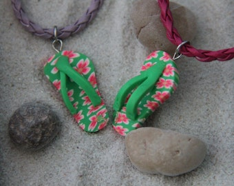 Green Flip Flop necklace, Polymer clay necklace, Summer Necklace, Sandal Necklace, Slipper Necklace, Sandals Necklace